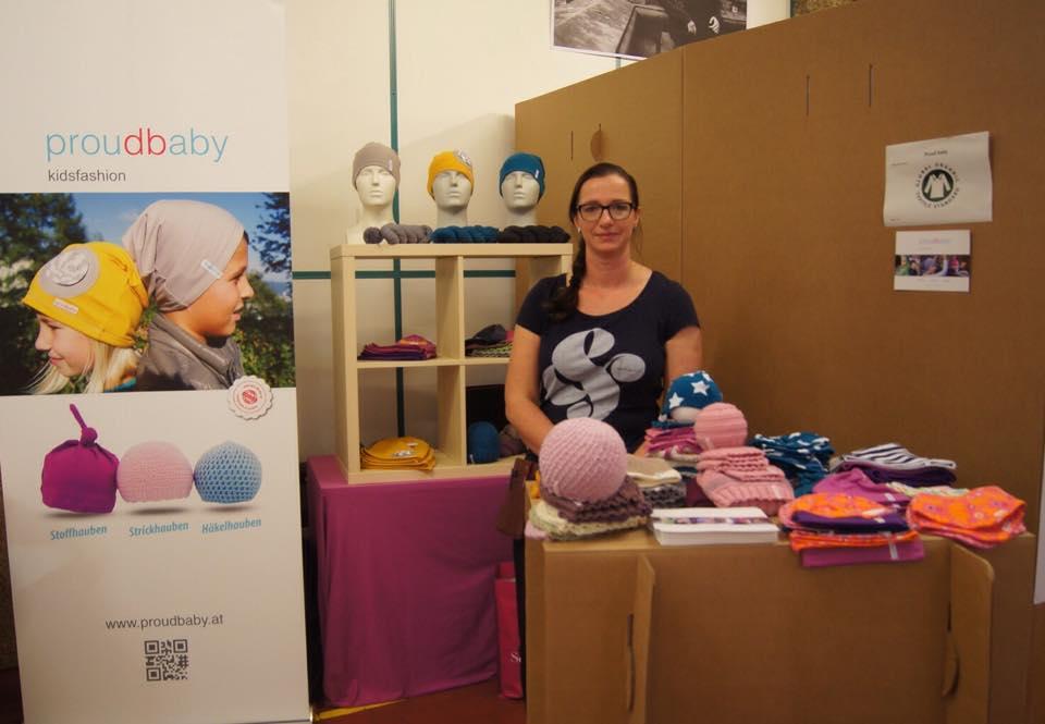 Proudbaby-Unternehmerin Eva Puchner auf der Wear Fair in Linz.